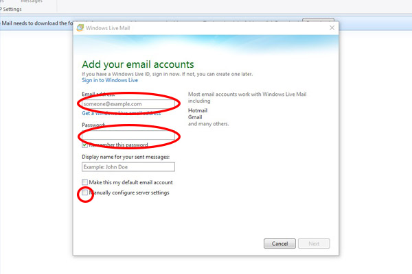 Setting up emails in Windows Live Mail – Wizbit Internet